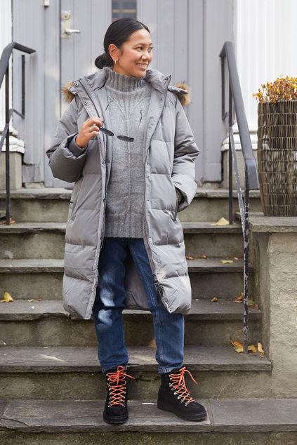 Skylar Down Hood Fur Jacket Grå
