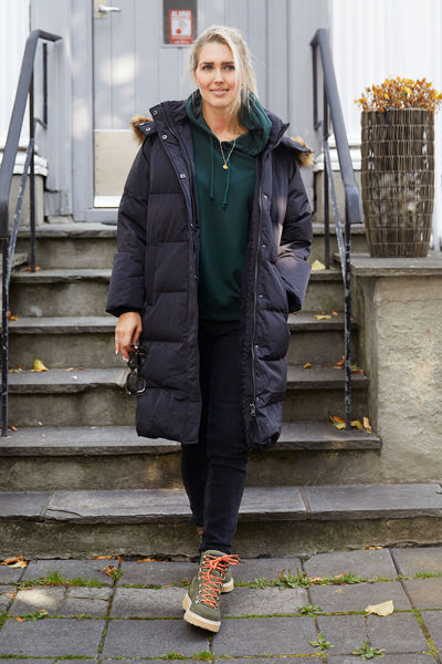Skylar Down Hood Fur Jacket Sort