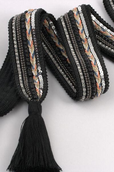 Belt knit tassle Sort