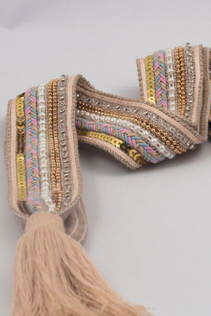 Belt knit tassle Beige