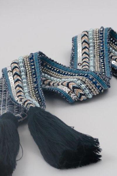 Belt knit tassle Blå