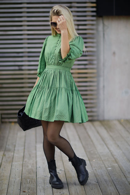 Delicate Mini Tulle Dress Green Dots