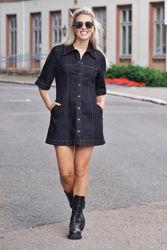 Alley Dress Black Denim