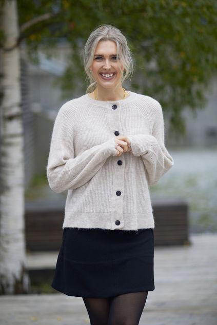 Lulu Knit Short Cardigan Lys beige