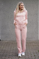 Del Ray Classic Velour Pant Pocket Design Pale Pink