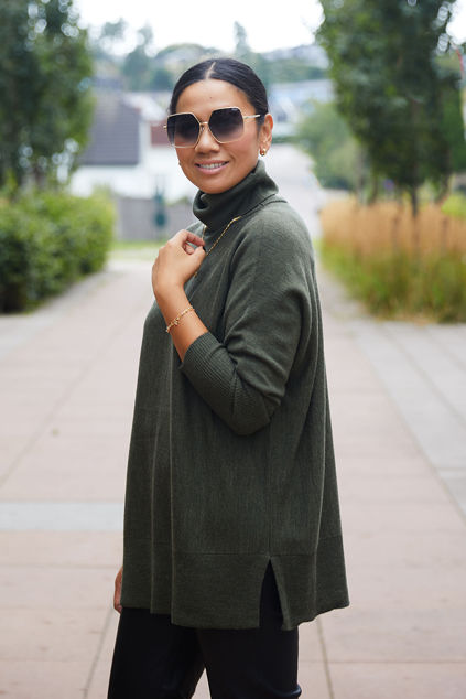 Wide Turtleneck Green melange