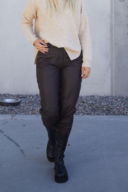 Noa Leather Pant Sort