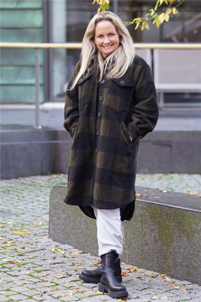 Valley Long Coat Checked Army/Sort