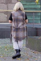 Valley Short Waistcoat Checked Brun/Grå/Kamel