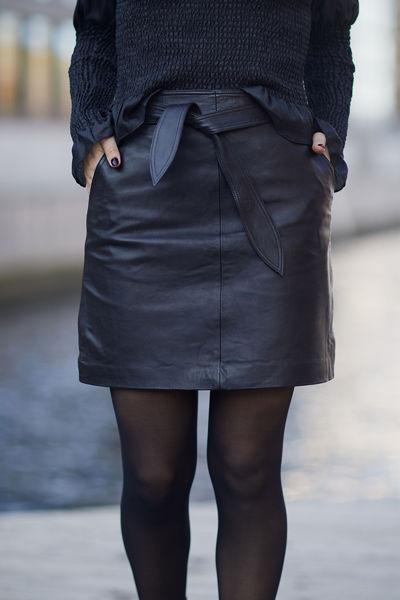 Monroe Leather Skirt Sort