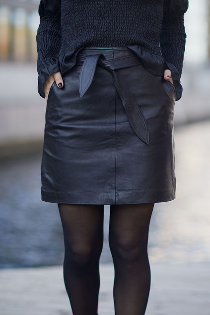 Monroe Leather Skirt Sort