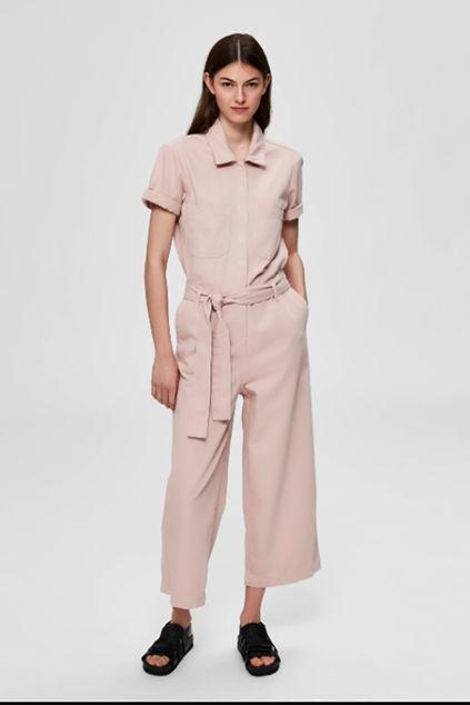 Vika 7/8 Crop Denim Jumpsuit Lys rosa