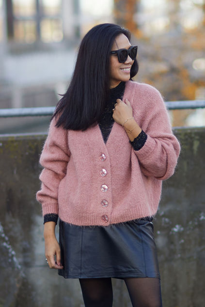 Hairy Knit Cardigan Gammelrosa