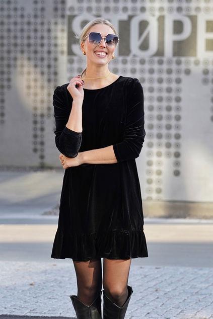 Emilie velour dress Sort