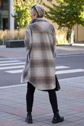 Valley Long Coat Checked Brun/grå