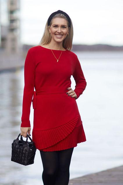 Christina merino dress Rød