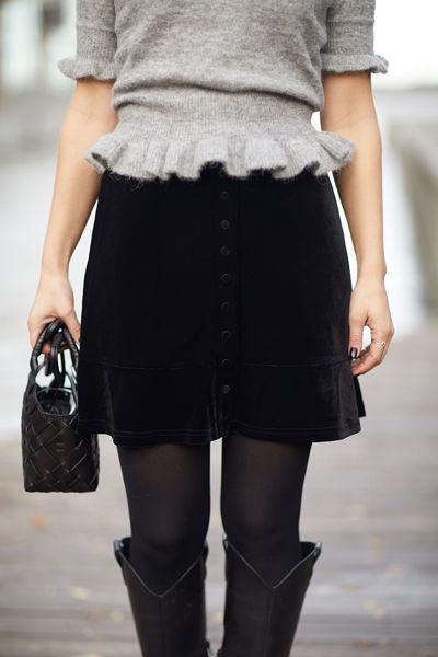 Holly velour skirt Sort