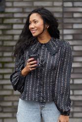 Jacqard lace shirt Sort