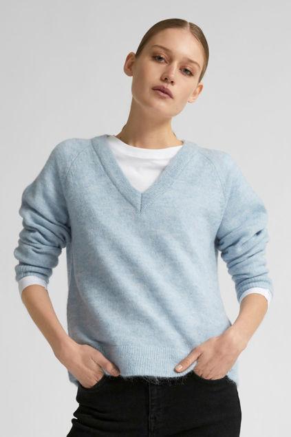 Lulu LS Knit V-neck Cashmere blue