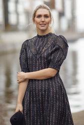 Jacquard lace mini dress Sort Blomstret