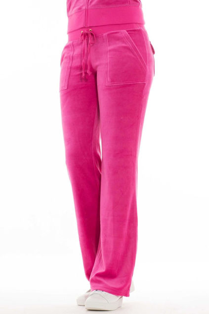 Del Ray Classic Velour Pant Pocket Design Raspberry