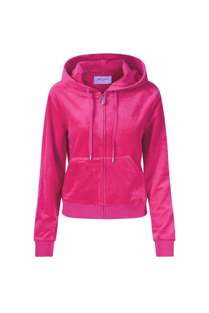 Robertson Classic Velour Zip Trough Hoodie Raspberry
