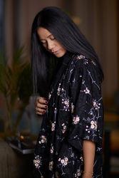 Jacquard embroidered kimono Sort