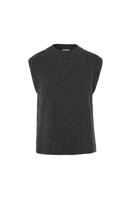 Elisha knit waistcoat Mørk gråmelert