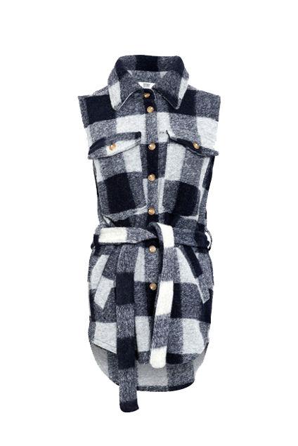 Valley Short Waistcoat Checked Blå/Grå