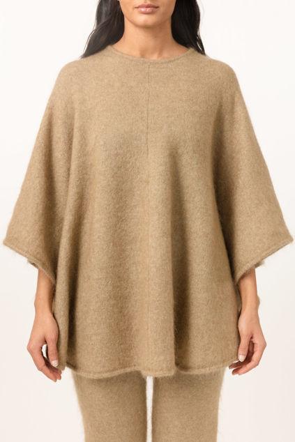 Soft demi curvy poncho Camel