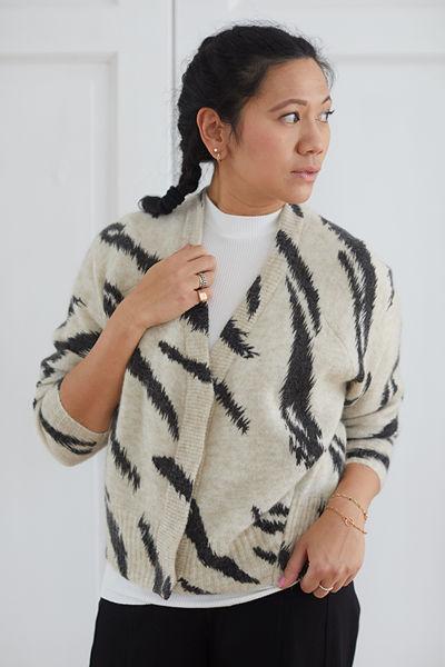 Rego Knit Cardigan Beige/Sort
