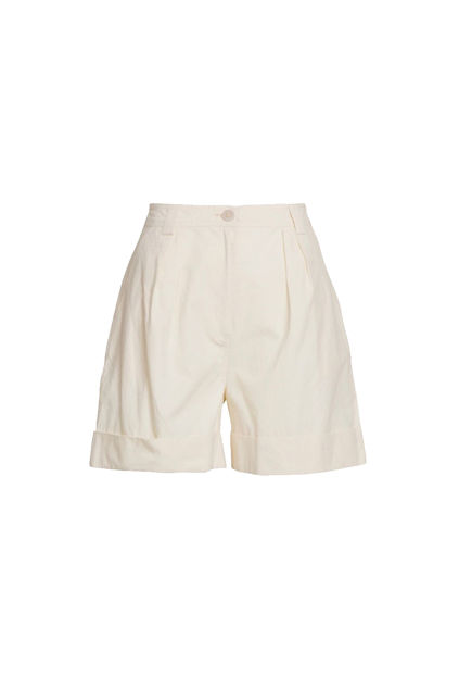Structured cotton shorts Eggeskallhvit