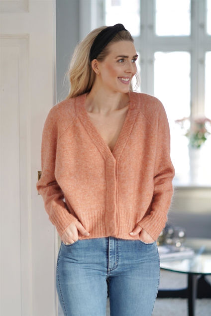 Brook Knit Boxy Cardigan Lys Rust Melange