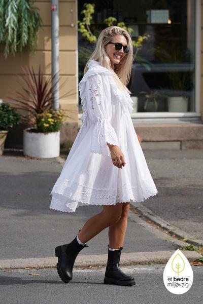 Cotton Slub Shift Dress Hvit