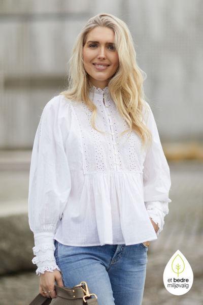 Cotton slub blouse Hvit