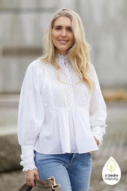 Cotton slub blouse Hvit