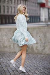Cotton slub Mini Dress Lys grønnstripet