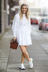 Cotton slub Mini Dress Hvit
