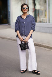 Clara Button Blouse Denim Blue
