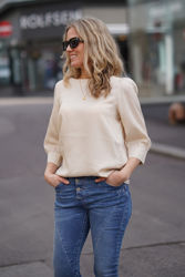 Hailey 3/4 Boat Neck Top Lys sand
