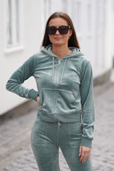 Robertson Classic Velour Zip Trough Hoodie Chinois Green