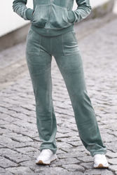 Del Ray Classic Velour Pant Pocket Design Chinois Green