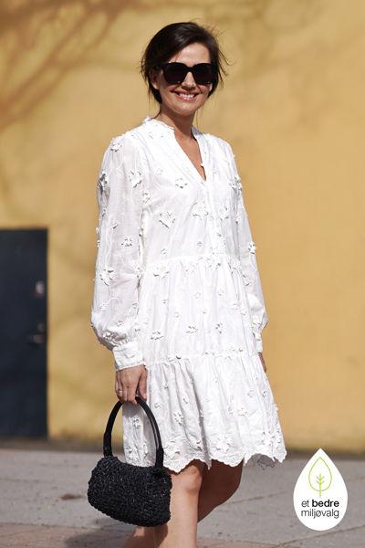 Applique LS Short Dress Hvit