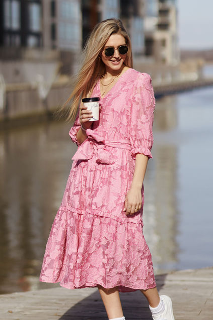 Sadie 3/4 Midi Dress Rosa