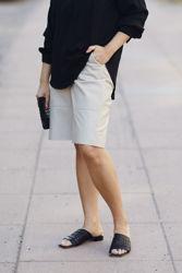 Preesa MW Leather Shorts Oxford tan