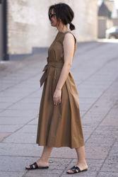 Poplin Flared dress Tobacco