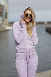 Robertson Classic Velour Zip Trough Hoodie Lavendel