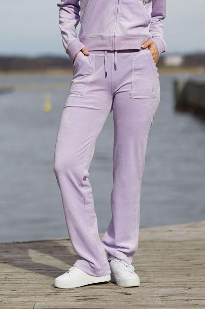 Del Ray Classic Velour Pant Pocket Design Lavendel