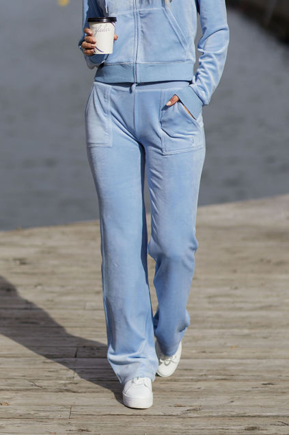 Del Ray Classic Velour Pant Pocket Design Lyseblå
