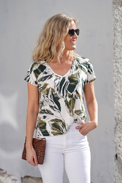 Icalina Green Palm Print